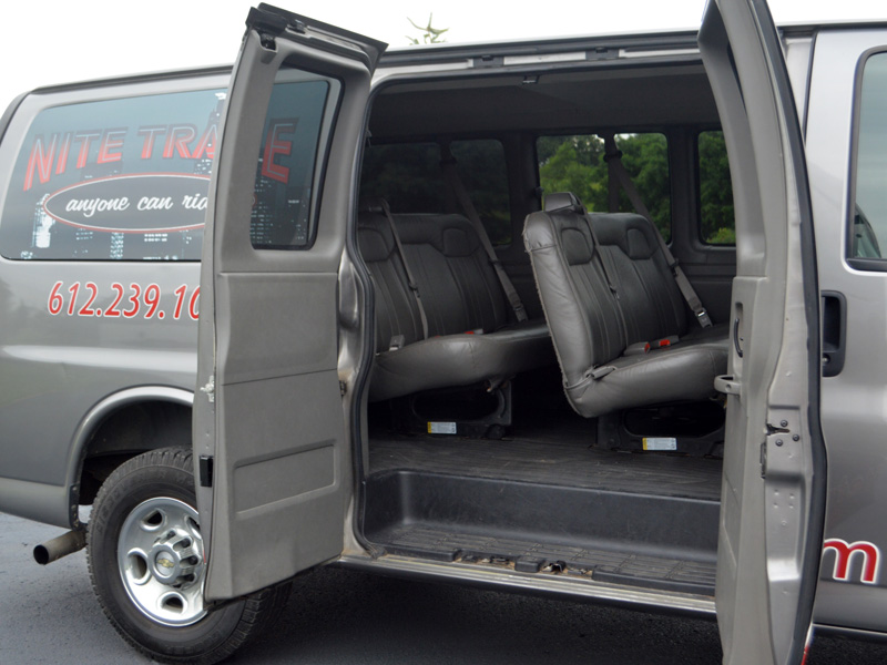 transportation van exterior with open door