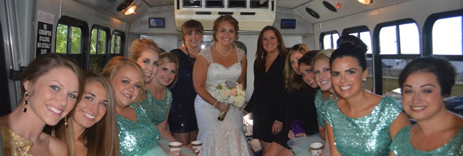 Wedding day party bus
